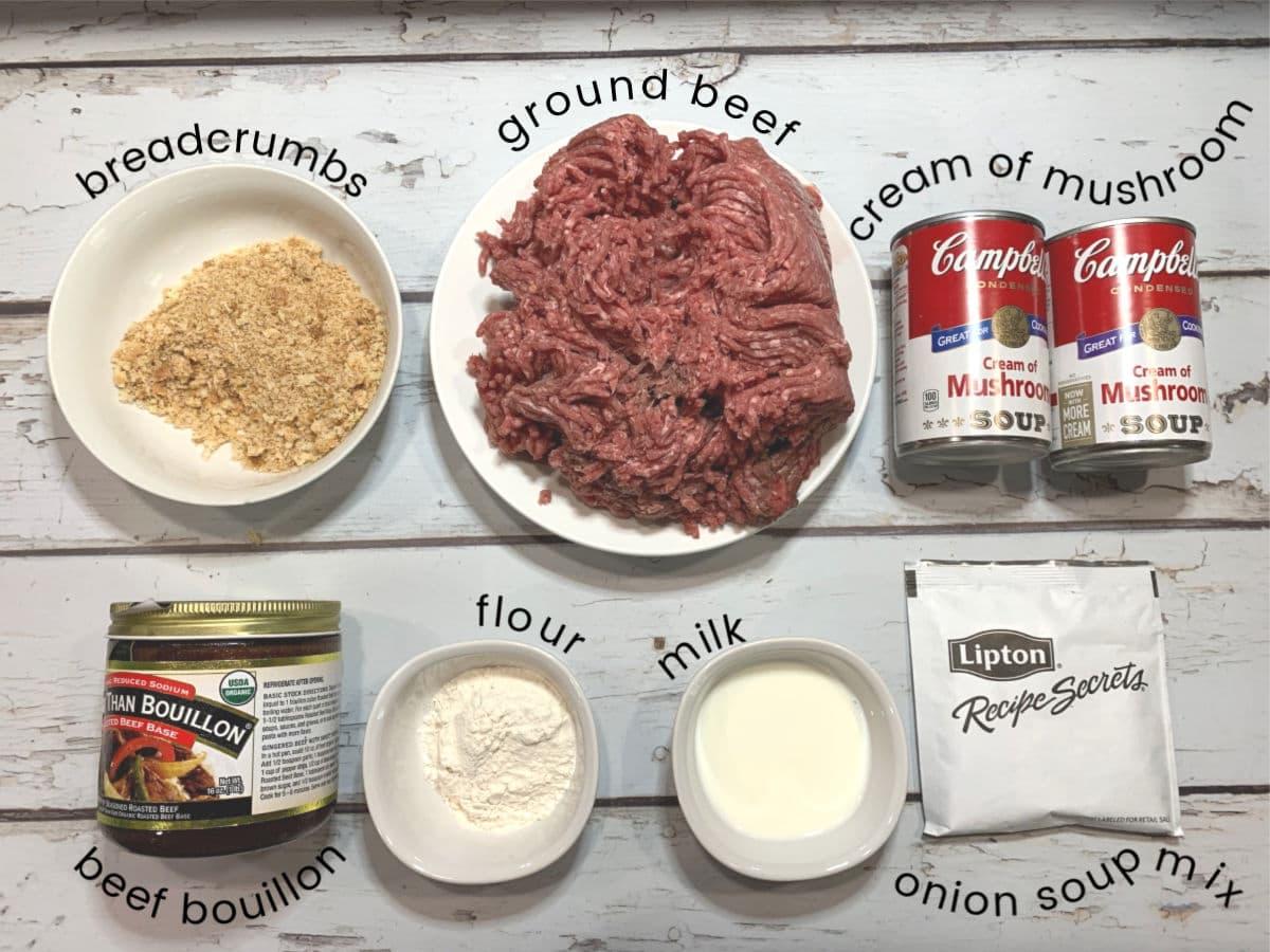 Ingredients for salisbury steak