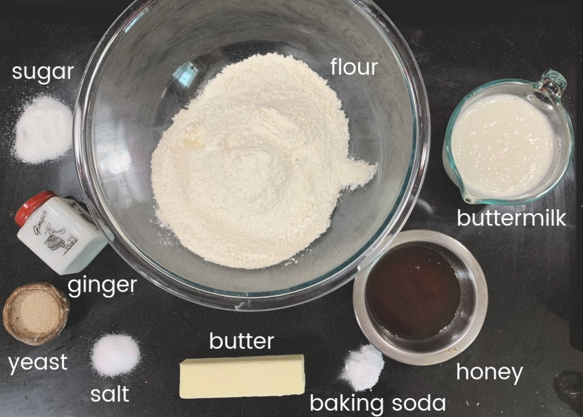 Buttermilk bread ingredients with labels.