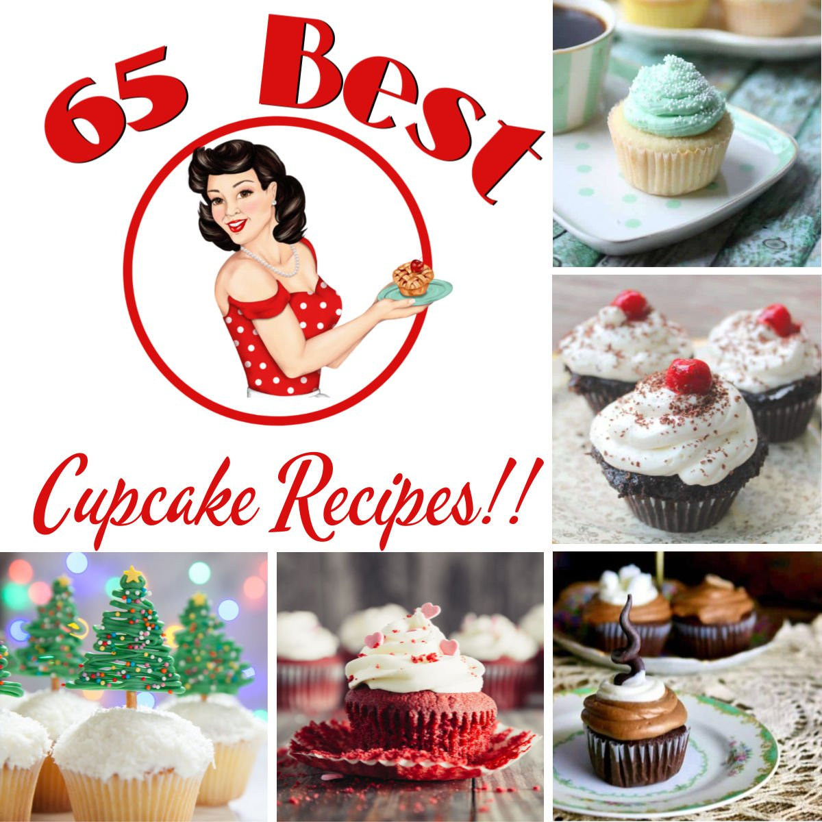 Collage of cupcake images with post title.