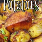 Fried potatoes in a skillet with text overlay for Pinterest