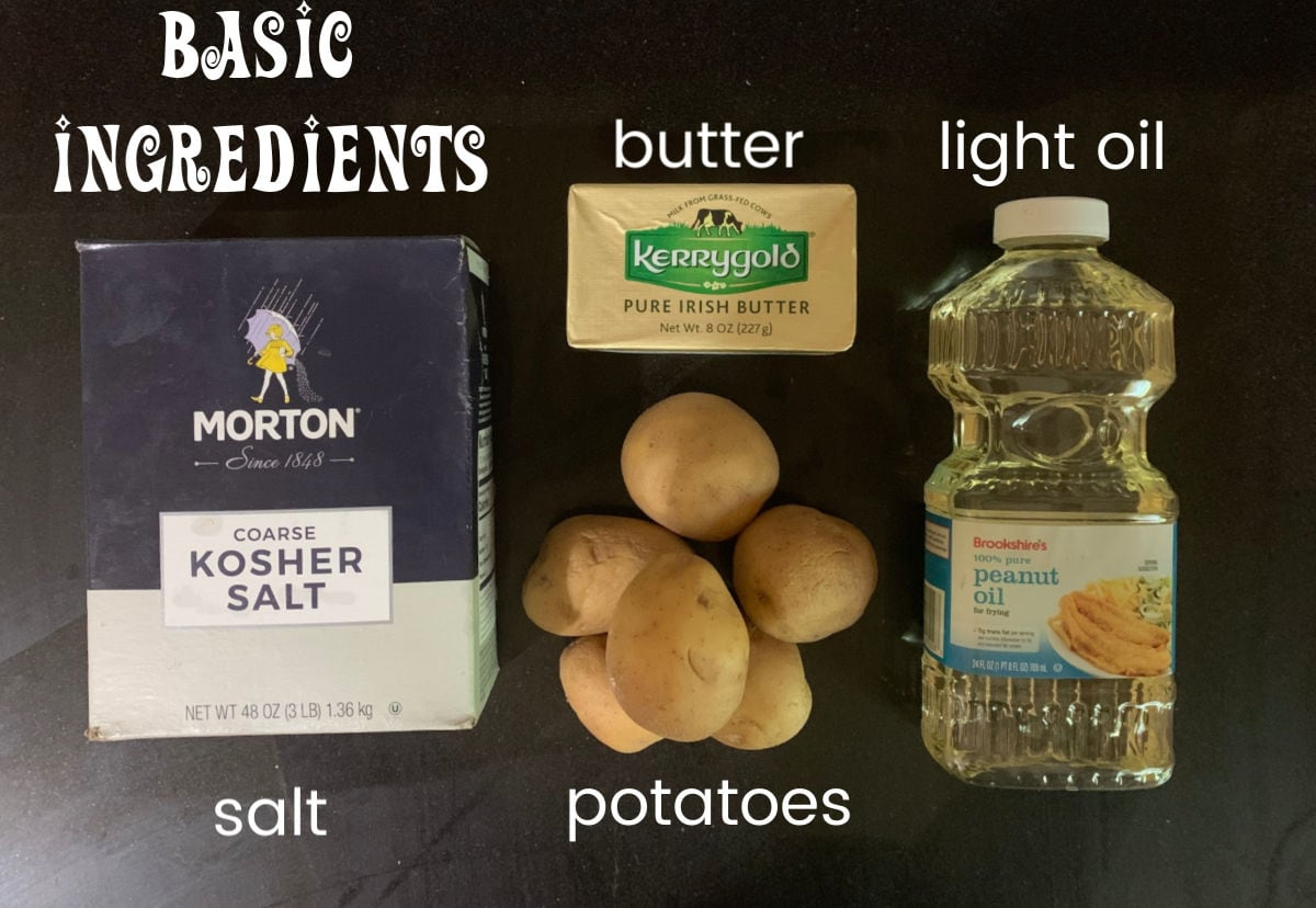 Labeled ingredients for fried potatoes.
