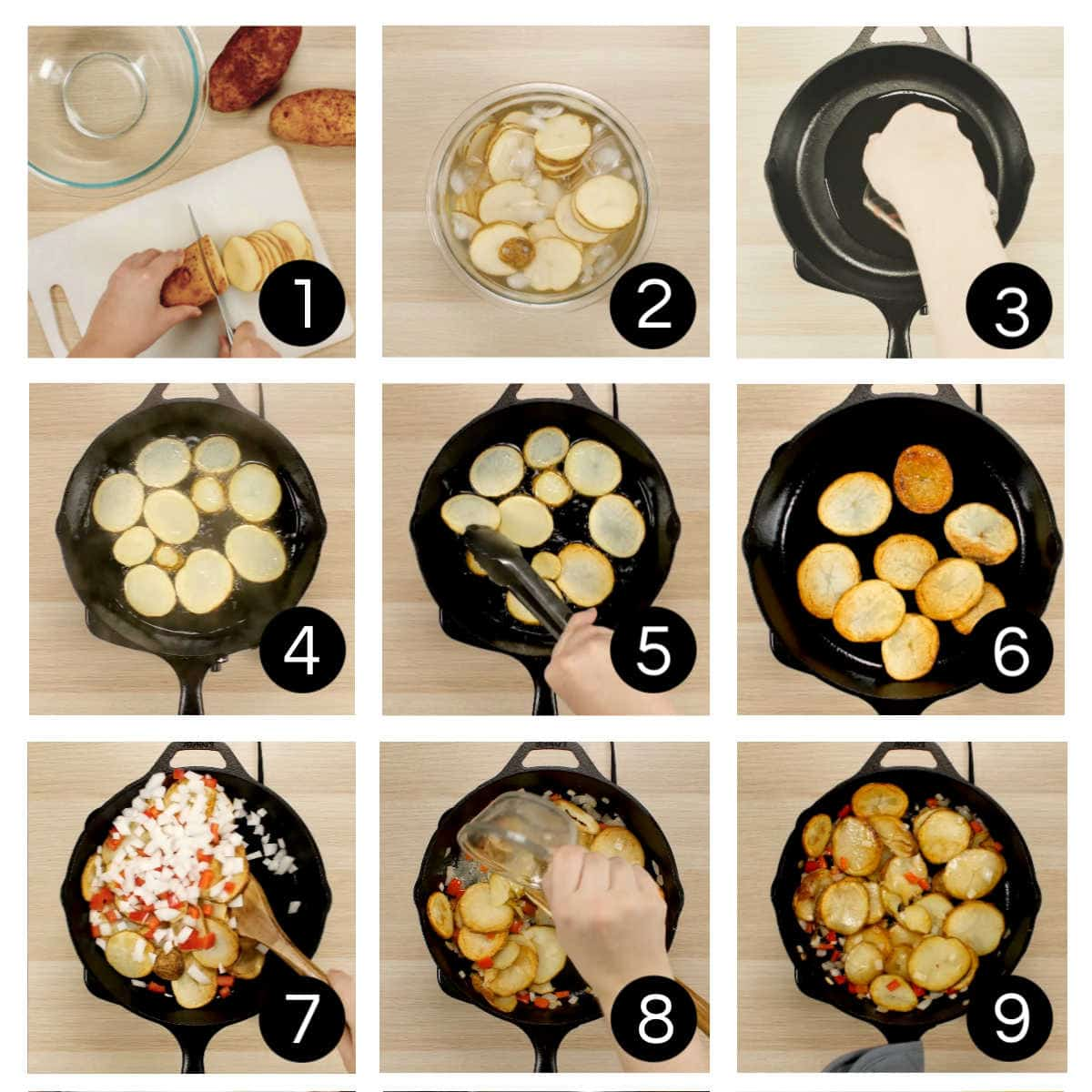 Step by step images for pan fried potatoes illustrating the numbered steps.