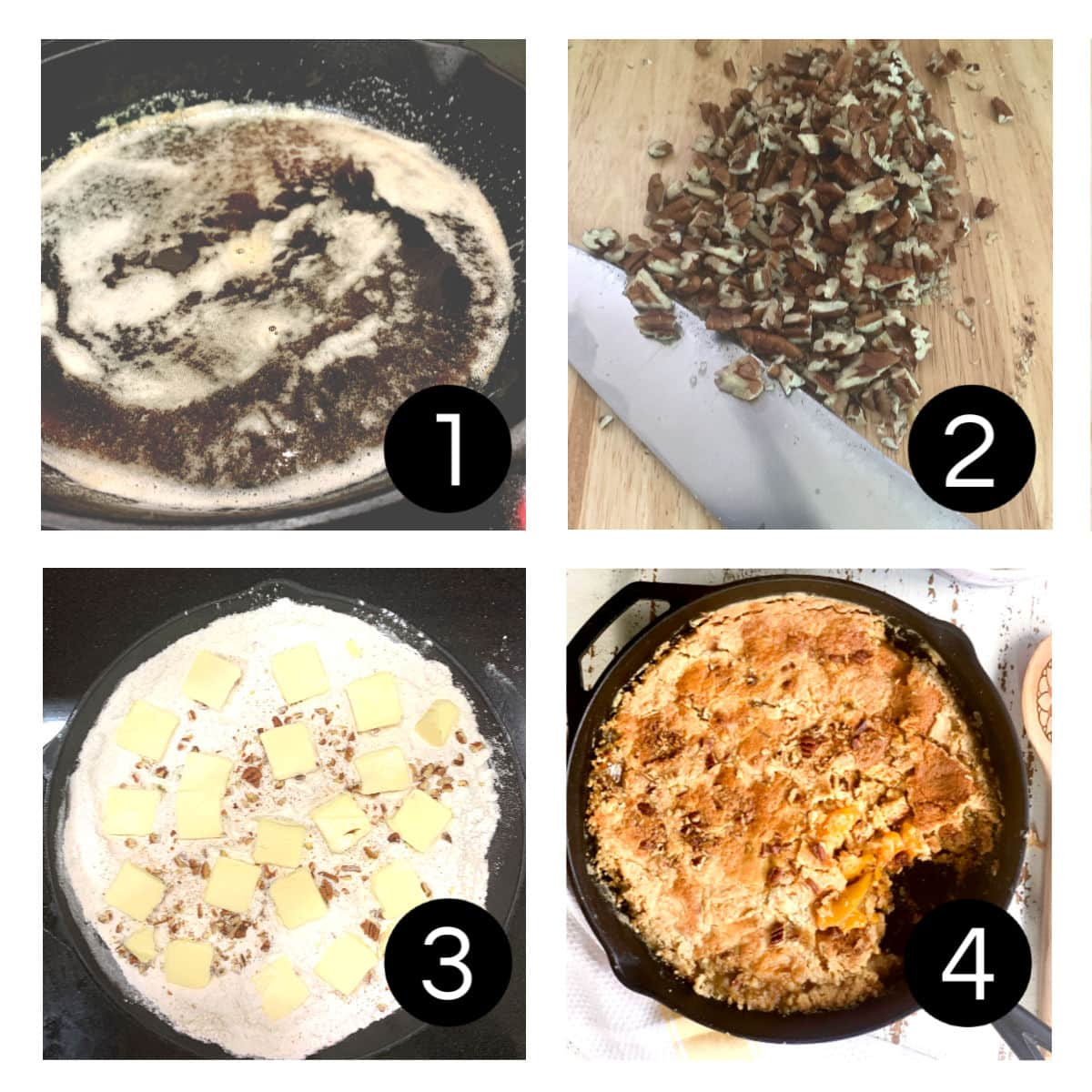 Step by step images showing how to make the dump cake.