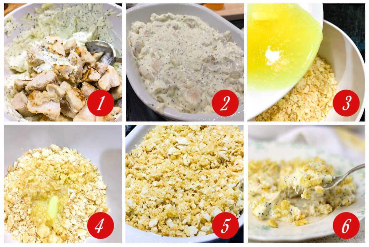 Assembling a casserole step by step.