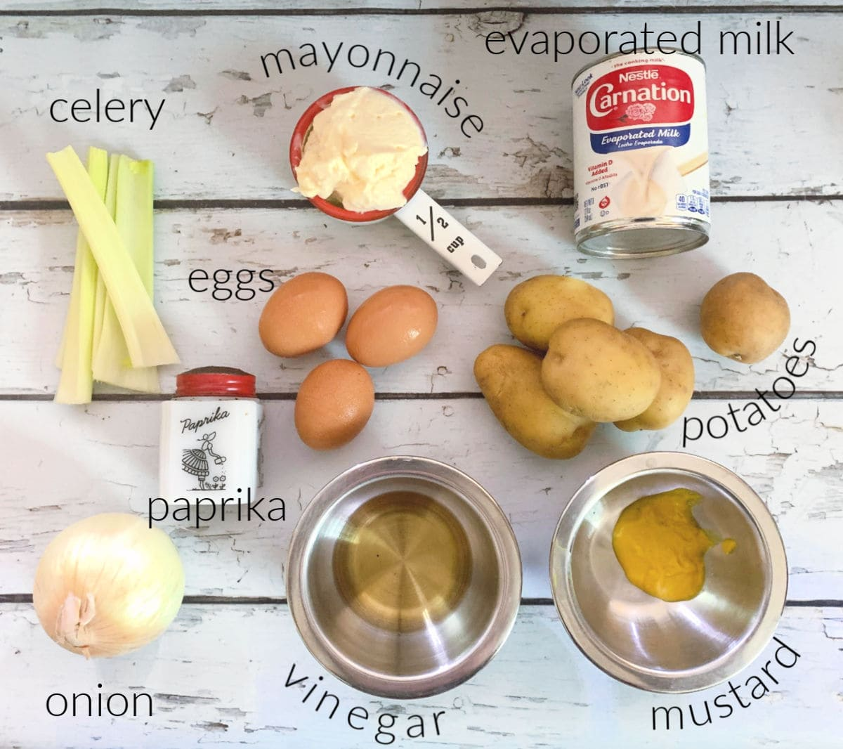 Labeled ingredients for potato salad.