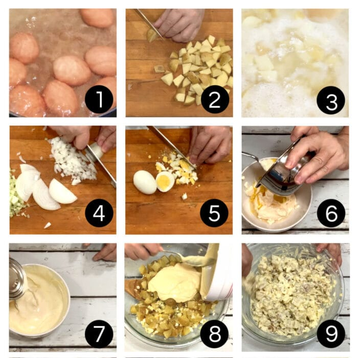 Step by step images for making potato salad.