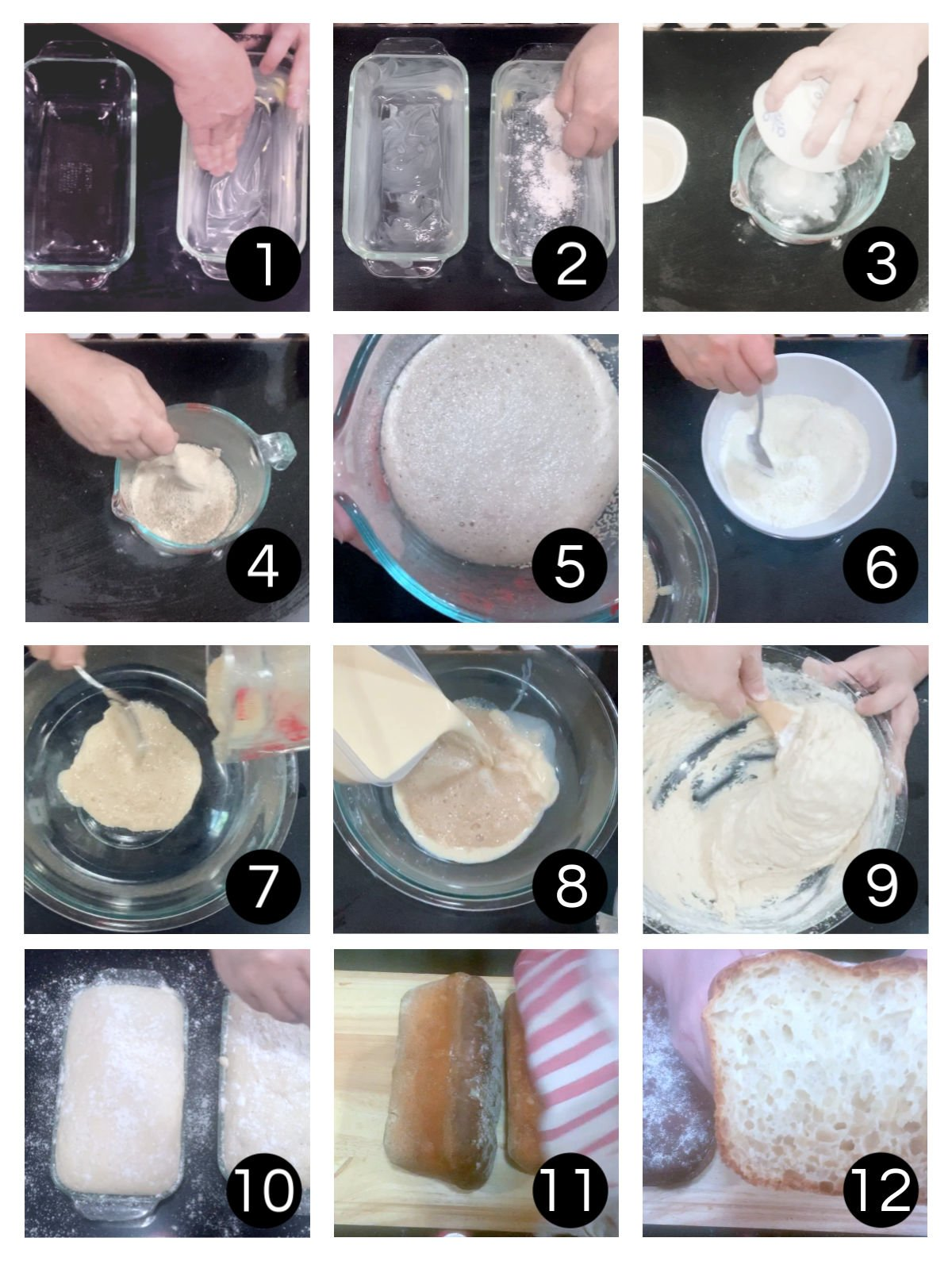 Step by step images for making the bread.