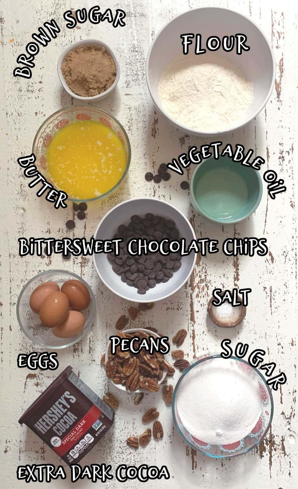 Labeled ingredients for dark chocolate brownies.