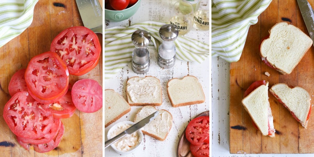 Collage of images showing the steps of making a tomato sandwich.