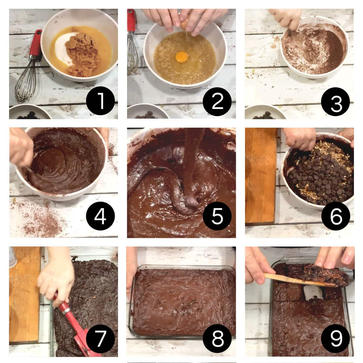 Step by step images for making brownies.