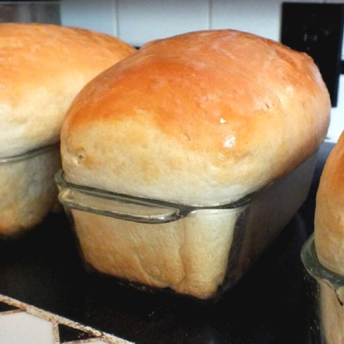 Loaves of baked bread.