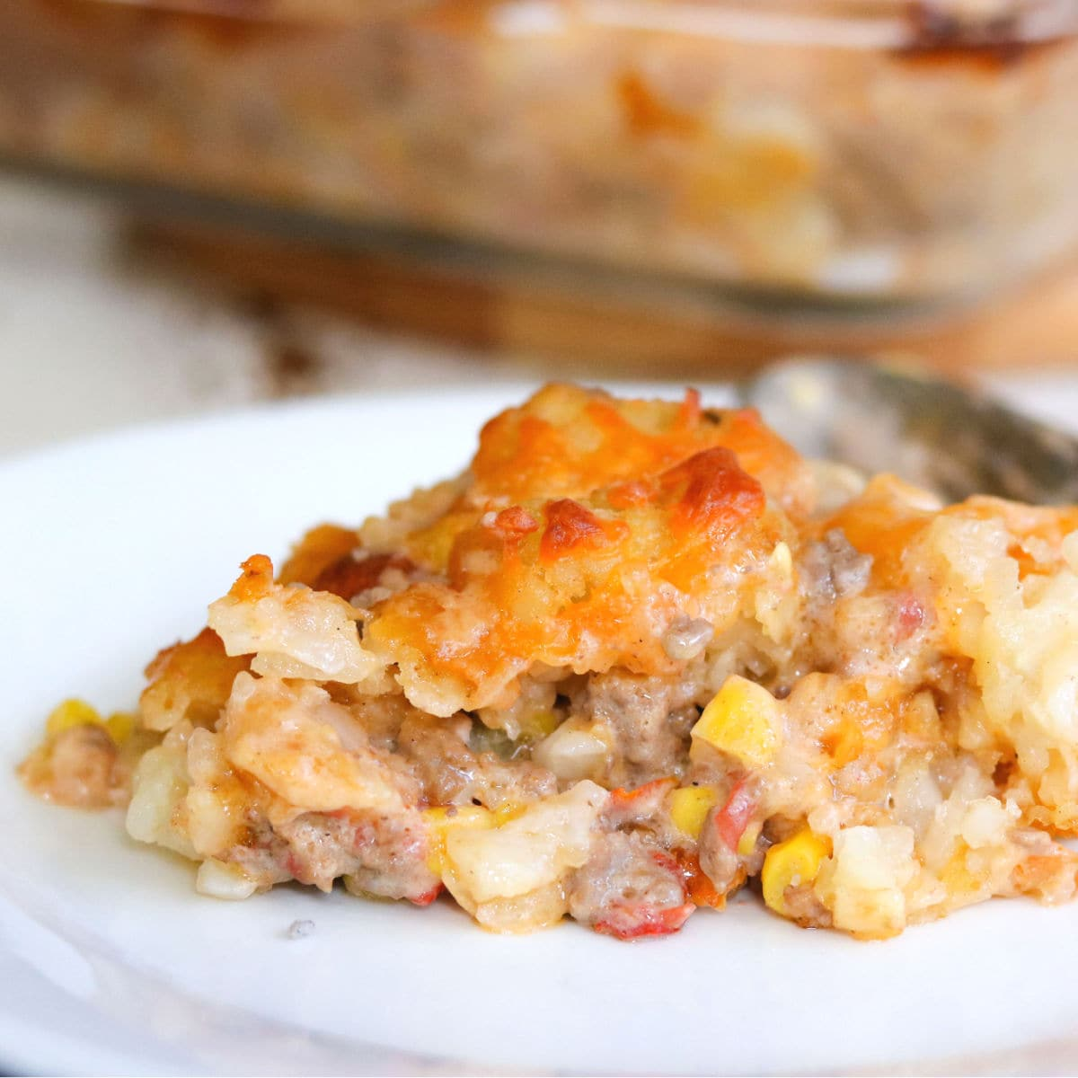 Serving of casserole on a plate showing the finished dish.