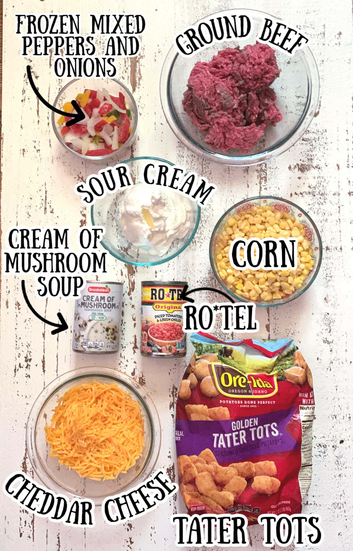 Labeled ingredients for casserole.