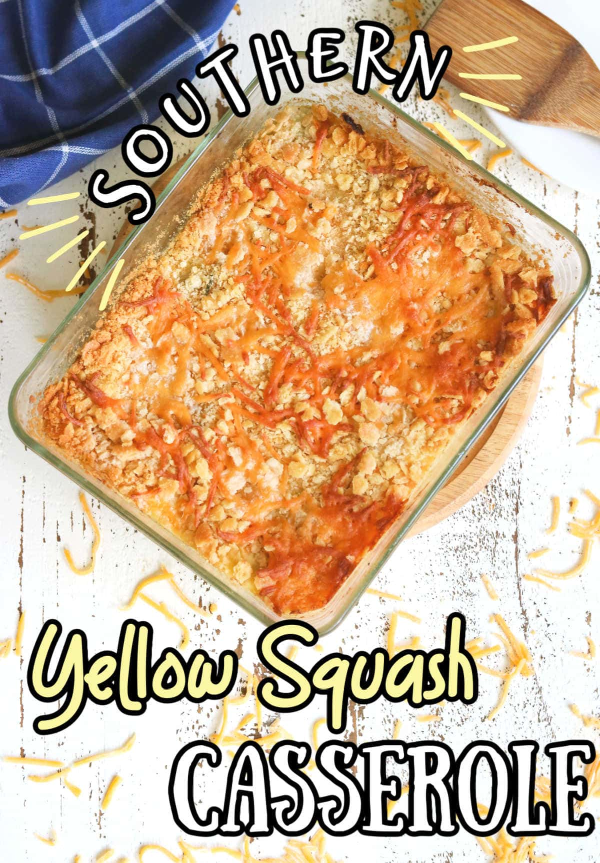 Squash casserole from the top showing crispy crumb topping.