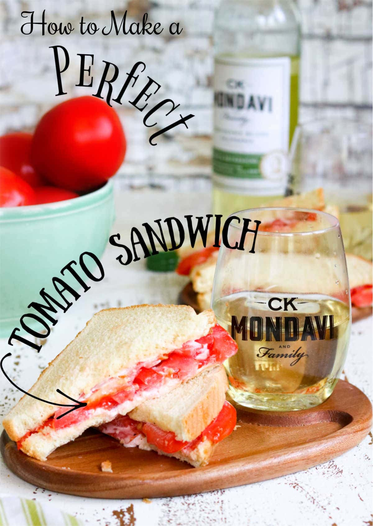 Sliced tomato sandwich with a title text overlay for Pinterest.