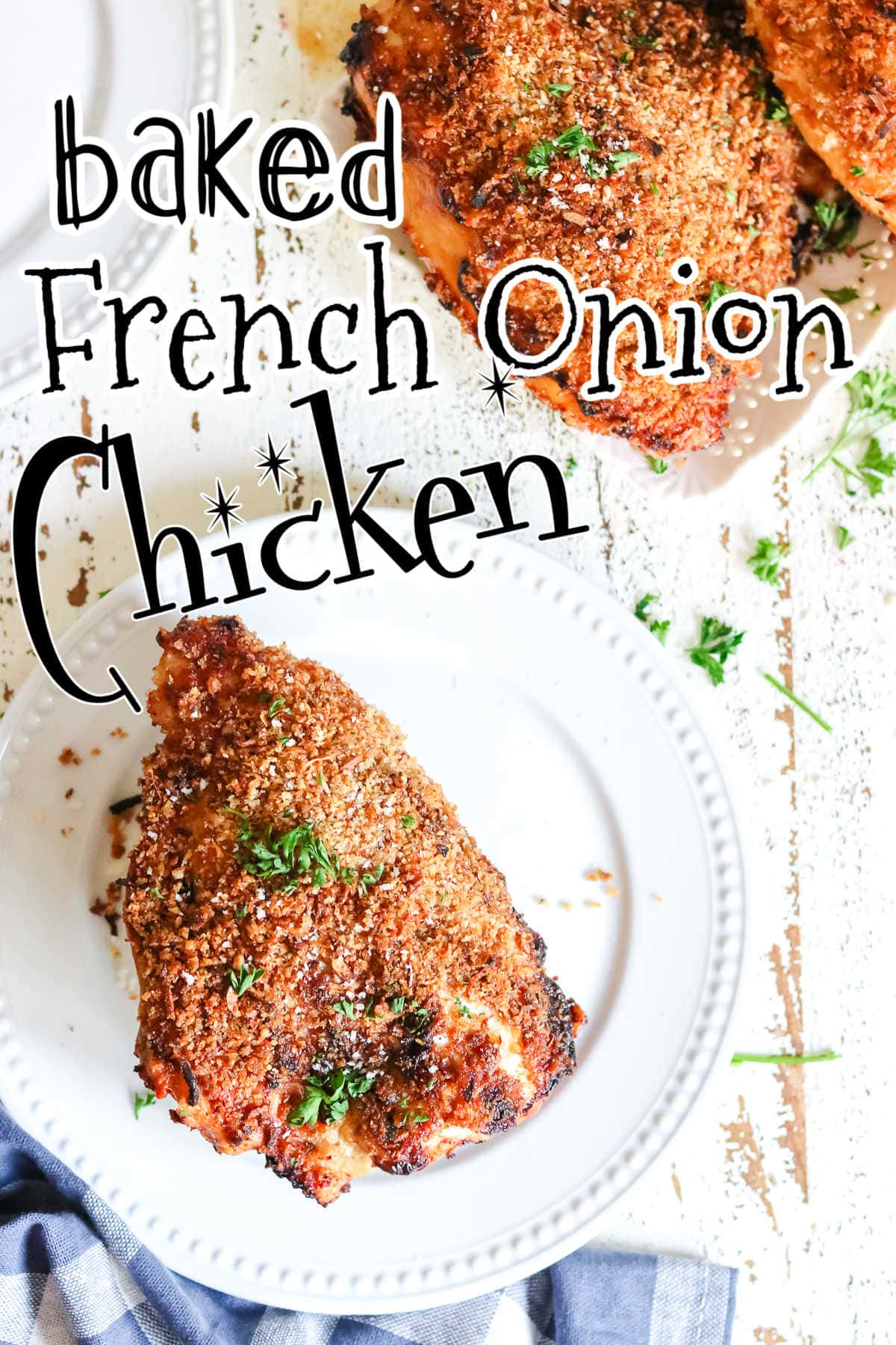 Baked French onion chicken on a white plate with title text overlay.