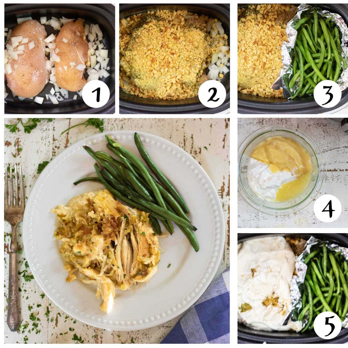 Step by step images for making slow cooker chicken and stuffing.