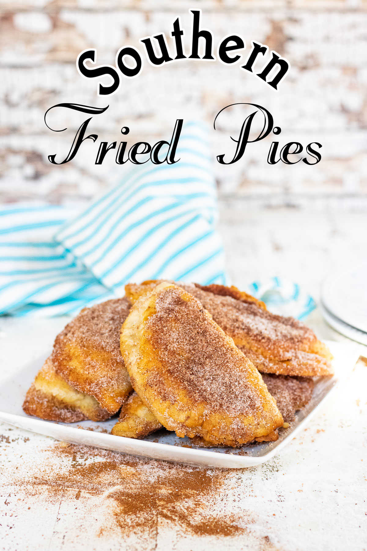 Plate of fried pies with title text overlay.