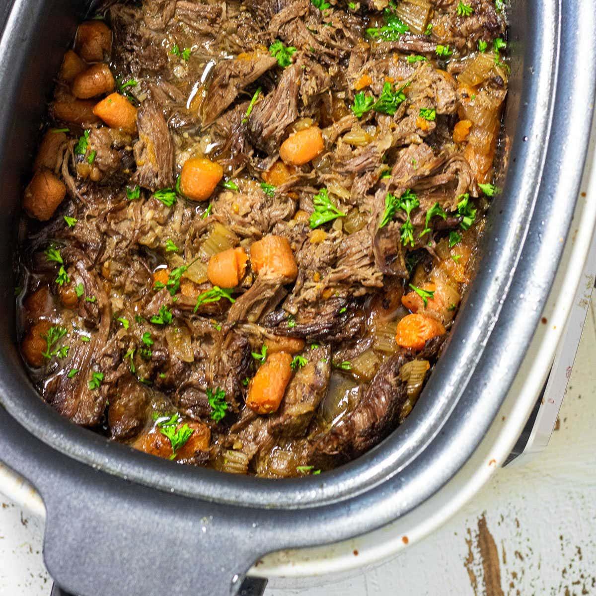 Close up of Cajun Pot Roast in the multi-cooker.