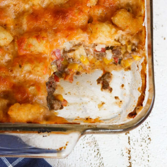 Casserole with a serving taken out showing the inside texture.