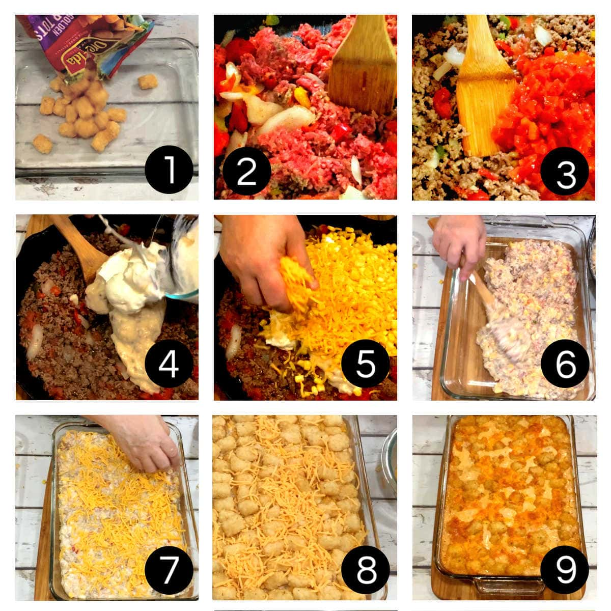 Step by step images for making cowboy casserole