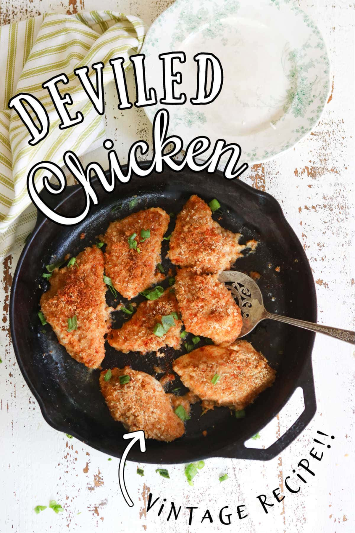 Finished recipe in an iron skillet. Text overlay for Pinterest.