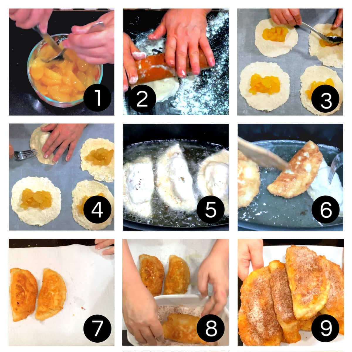 Step by step images showing how to make southern fried pies.