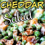 Pea salad with text overlay for pinterest
