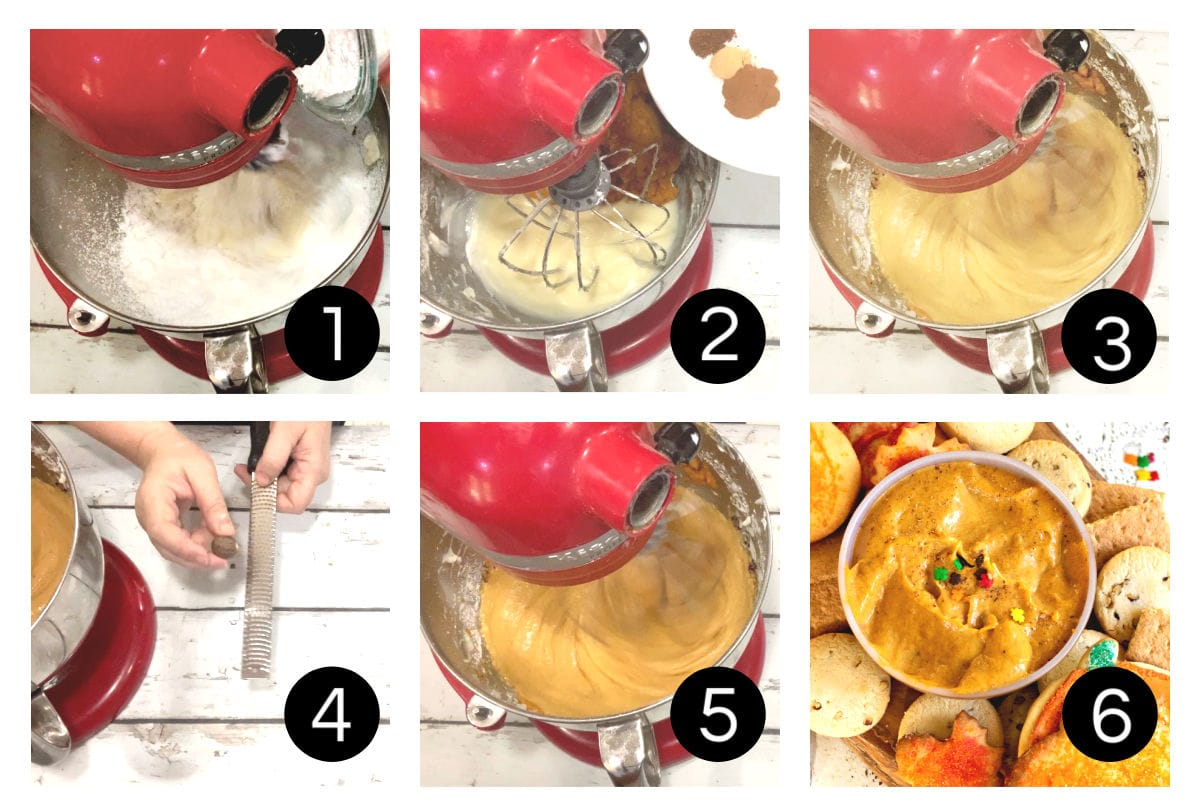 Step by step images showing how to make the dip.