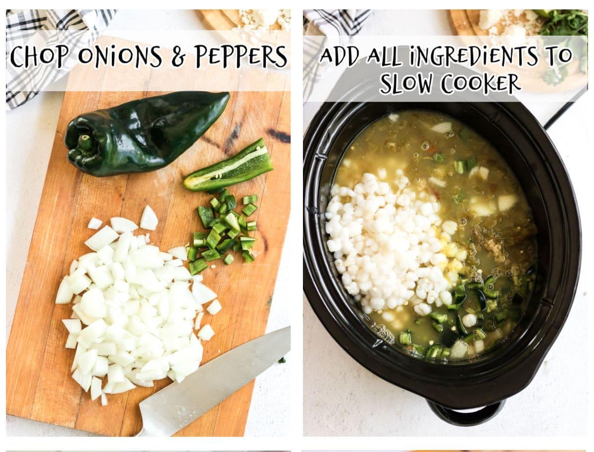 Steps to make chicken pozole verde.