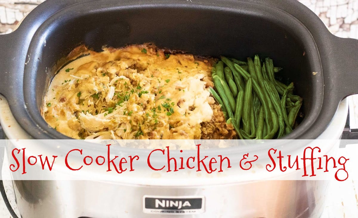 Chicken and stuffing in a slow cooker with a title text overlay. Image is linked to the video on YouTube.