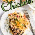 Overhead shot of fiesta chicken on a white plate with a colorful title text overlay for Pinterest.