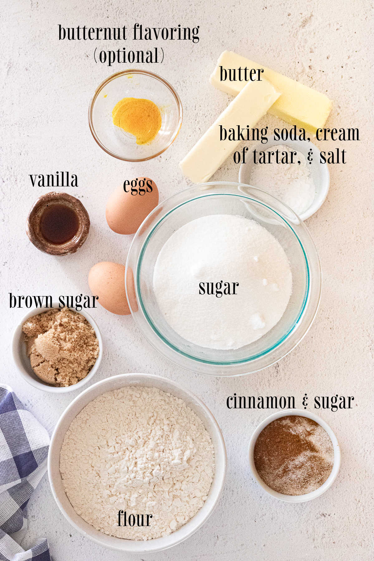 Ingredients for snickerdoodle cookies with labels.