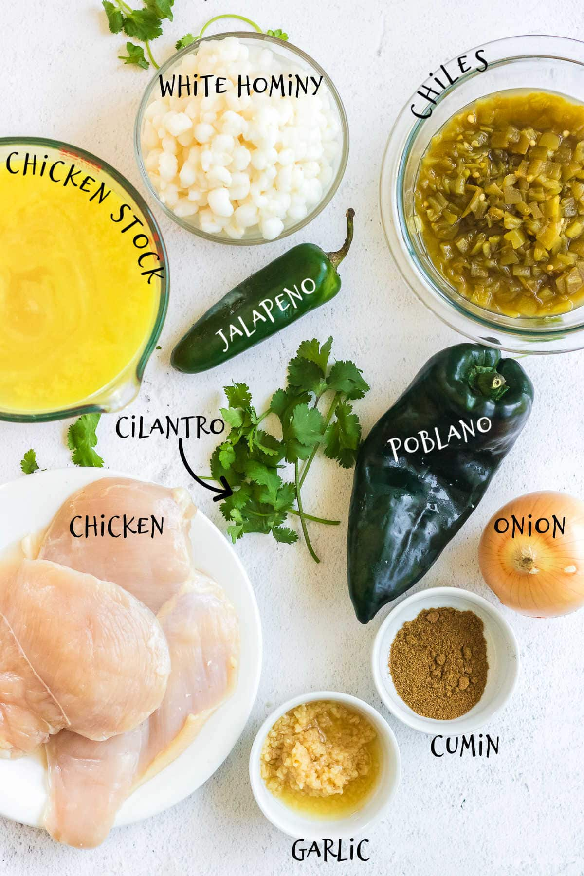 Labeled ingredients for pozole verde.