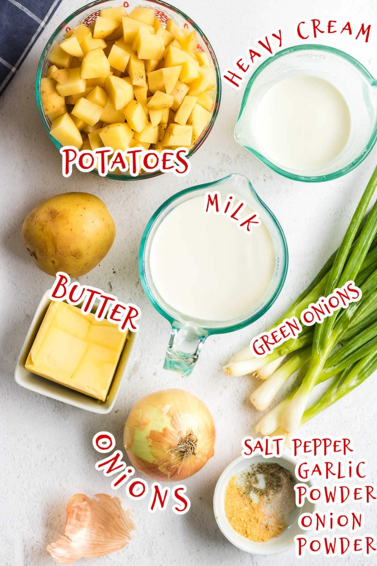 Labeled potato soup ingredients.