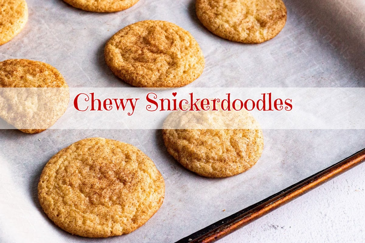 Snickerdoodles on a cookie sheet with title overlay. Clickable image goes to YouTube.