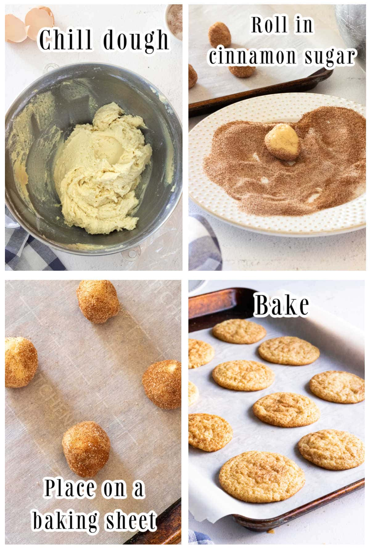 Collage of shaping snickerdoodle cookies.