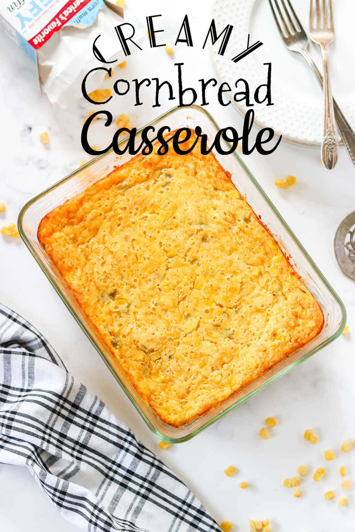 Baked cornbread casserole with title text overlay.
