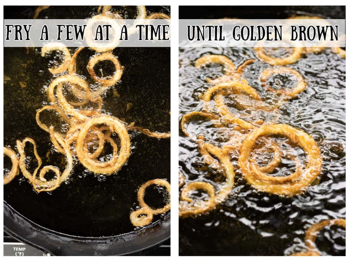 Steps 5 and 6 for making French fried onions.