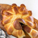Overhead shot of the bread with text overlay for Pinterest.