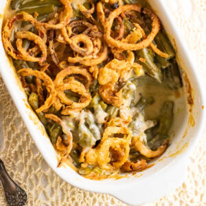 Closeup overhead view of finished green bean casserole.
