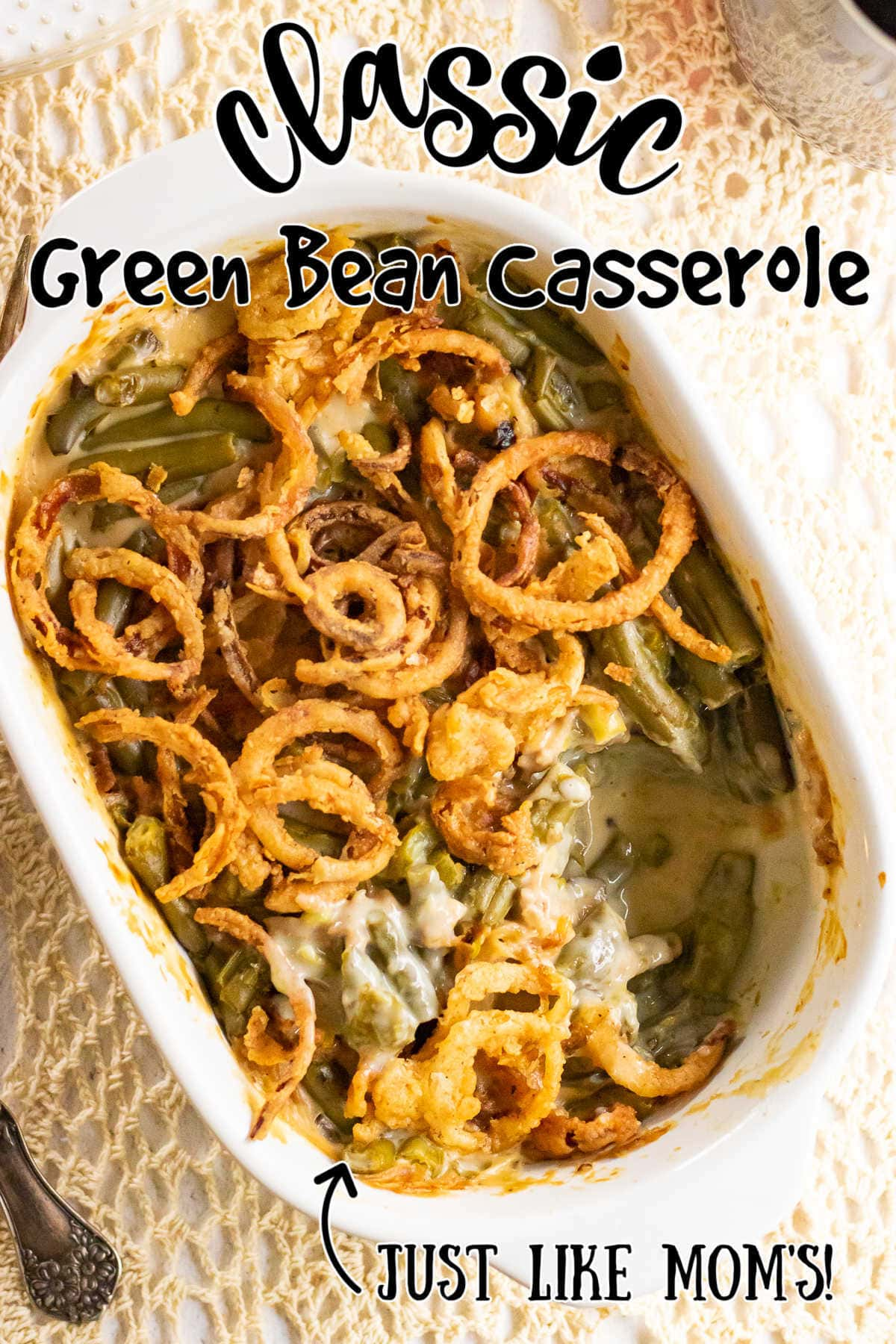 Overhead view of finished casserole with title text overlay.