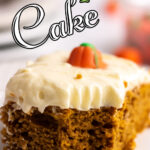 Closeup of a serving of cake with text overlay for Pinterest.