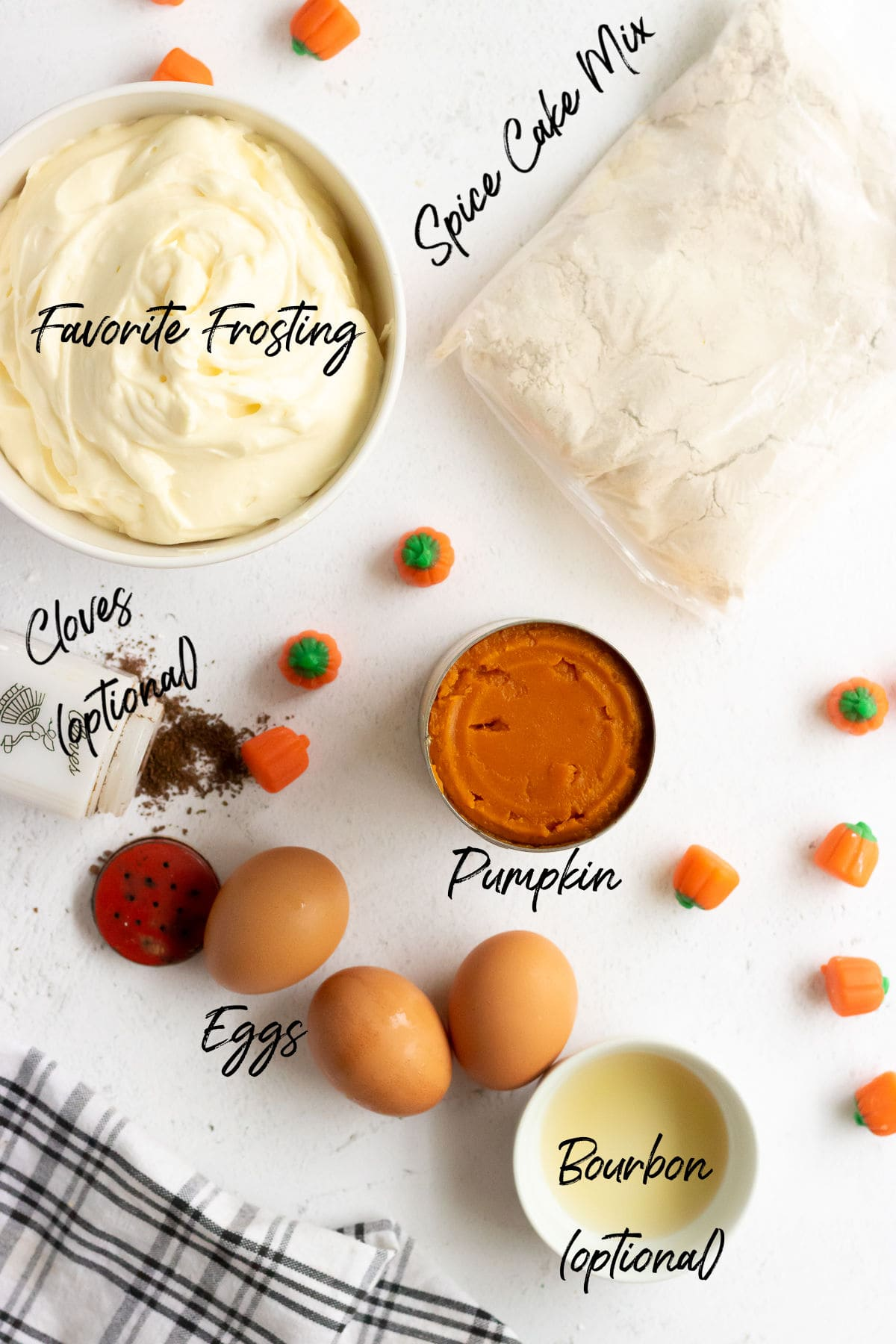 Labeled ingredients for the pumpkin cake.