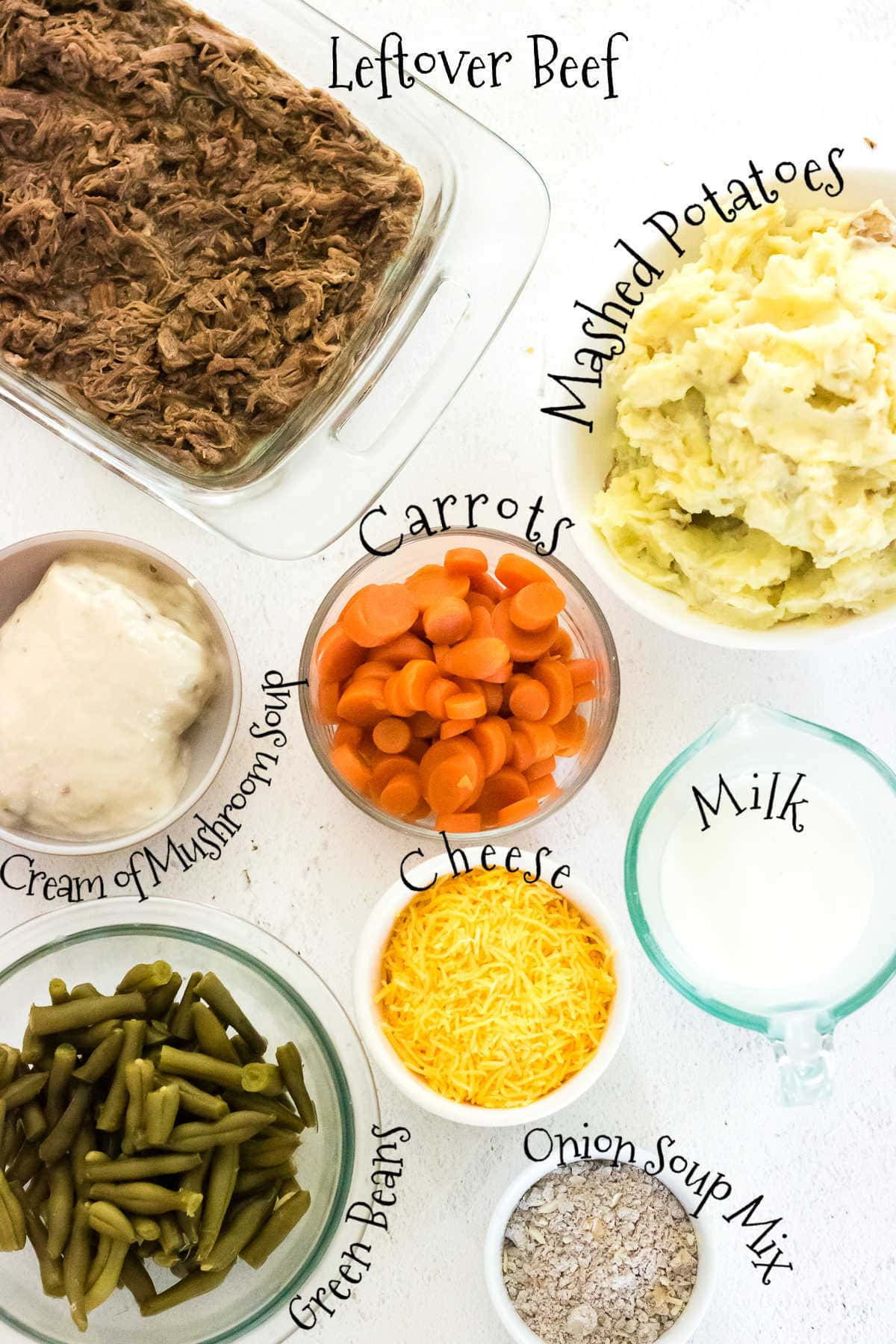 labeled ingredients for shepherd's pie