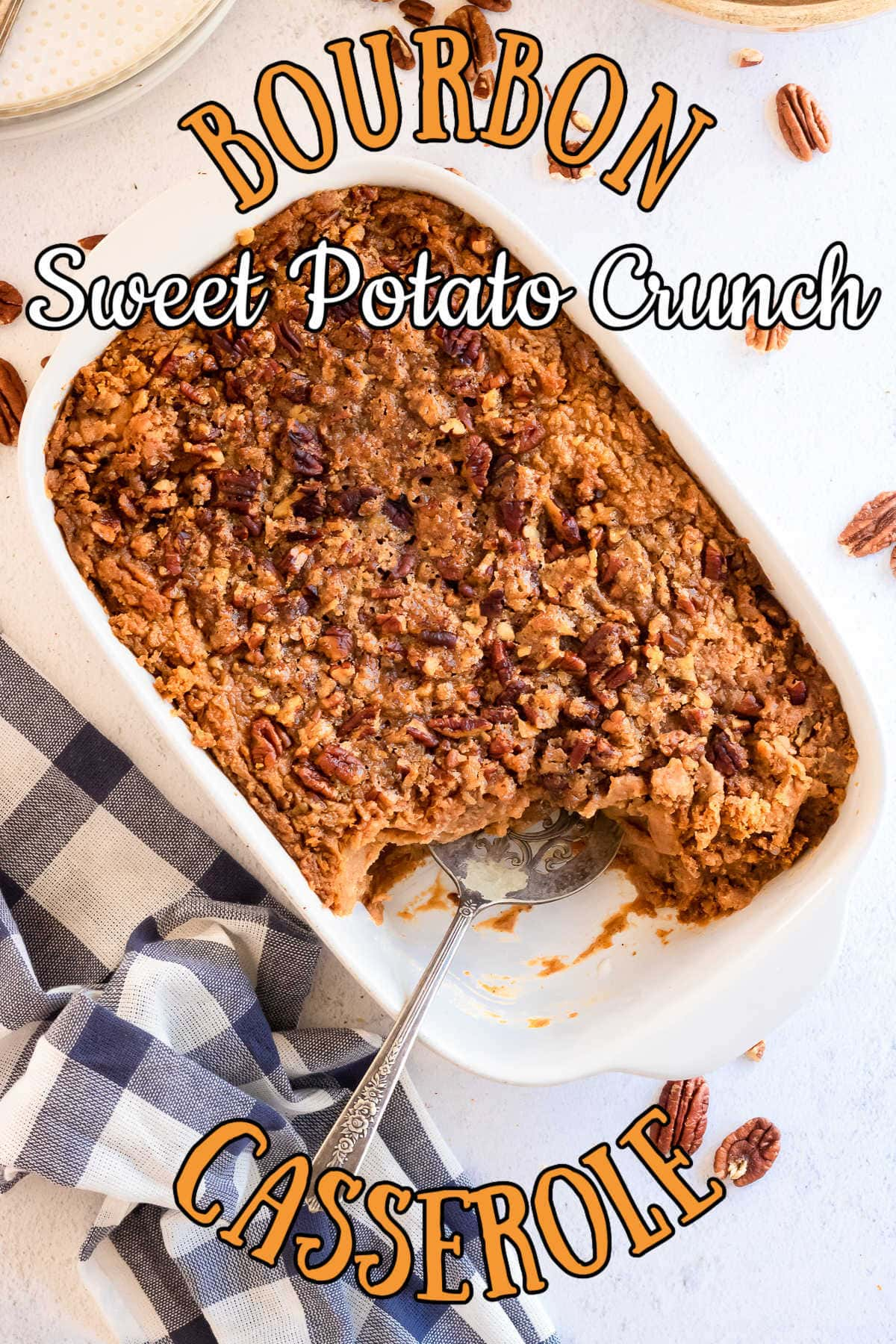 Overhead view of sweet potato casserole with title text overlay.