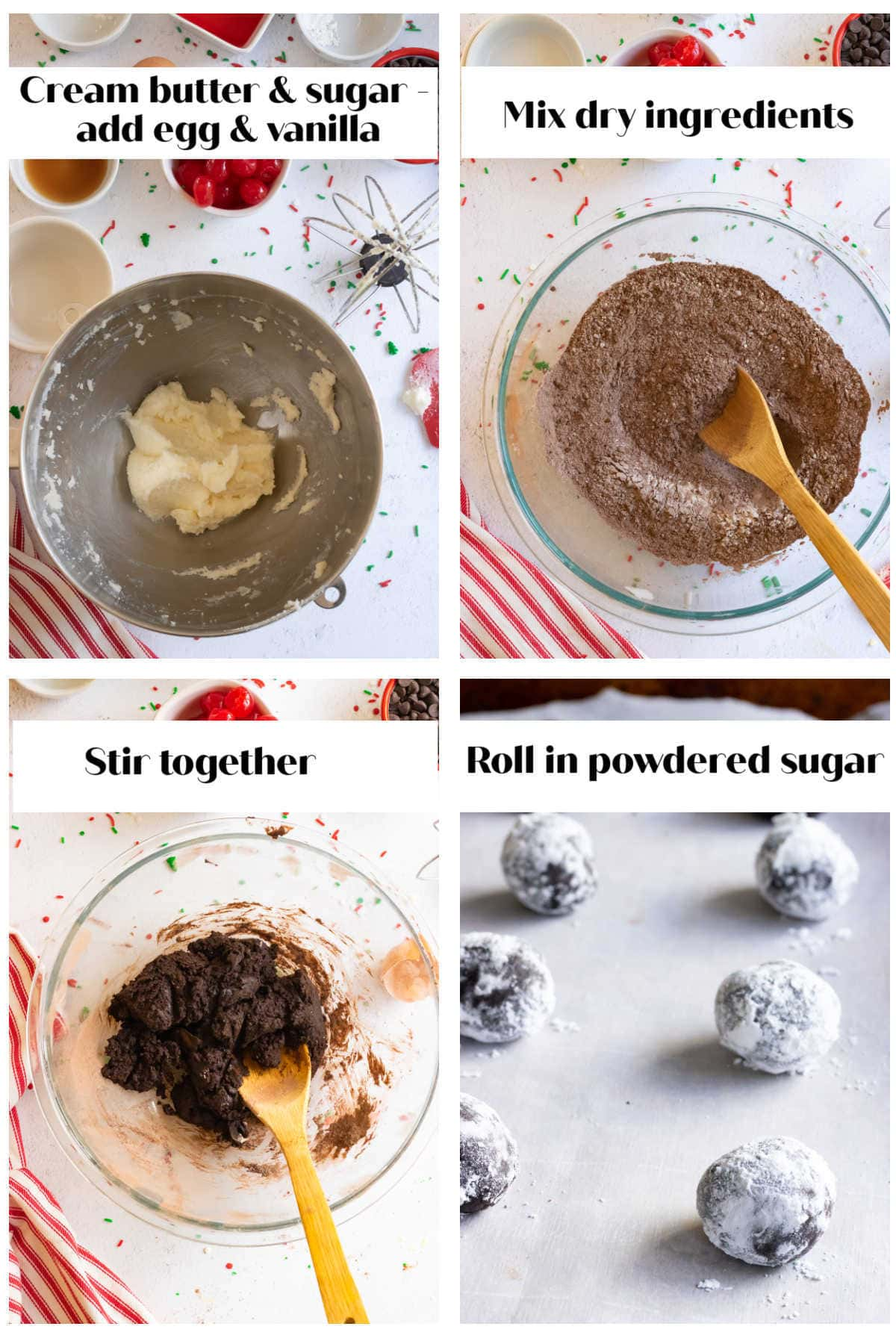 Step by step images for how to make the cookie dough.