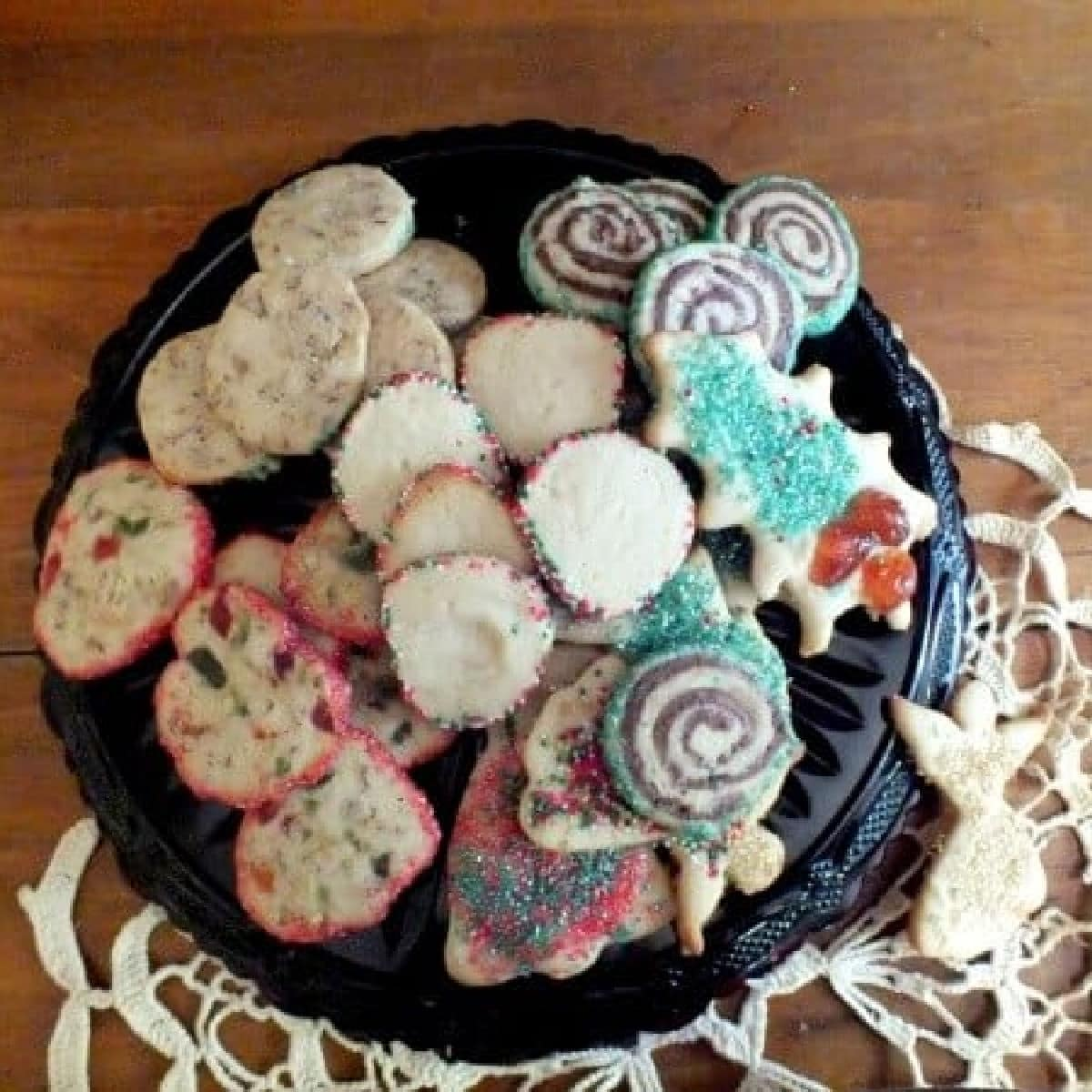 Plate of assorted holiday cookies.