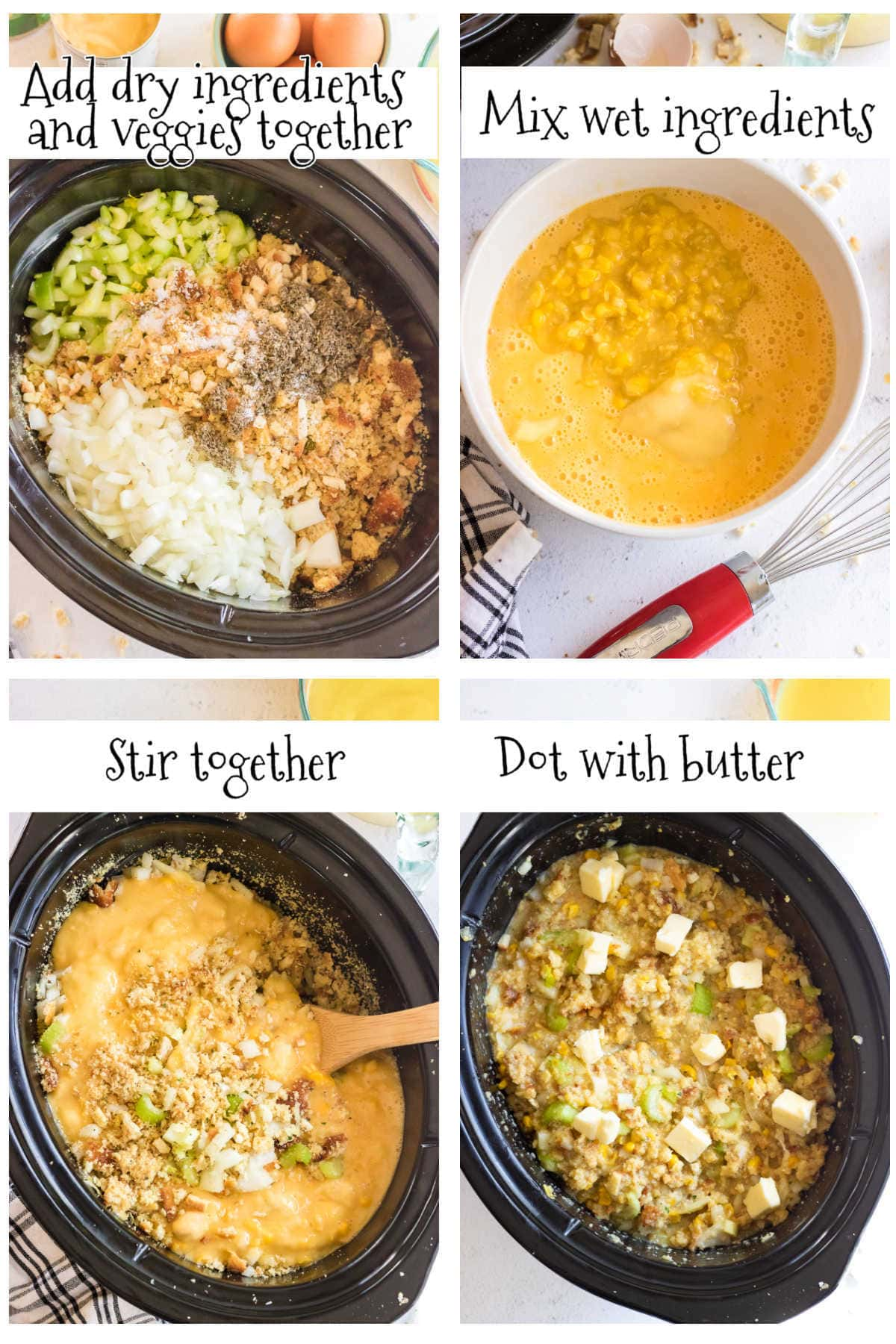 Step by step images for making dressing in a slow cooker.