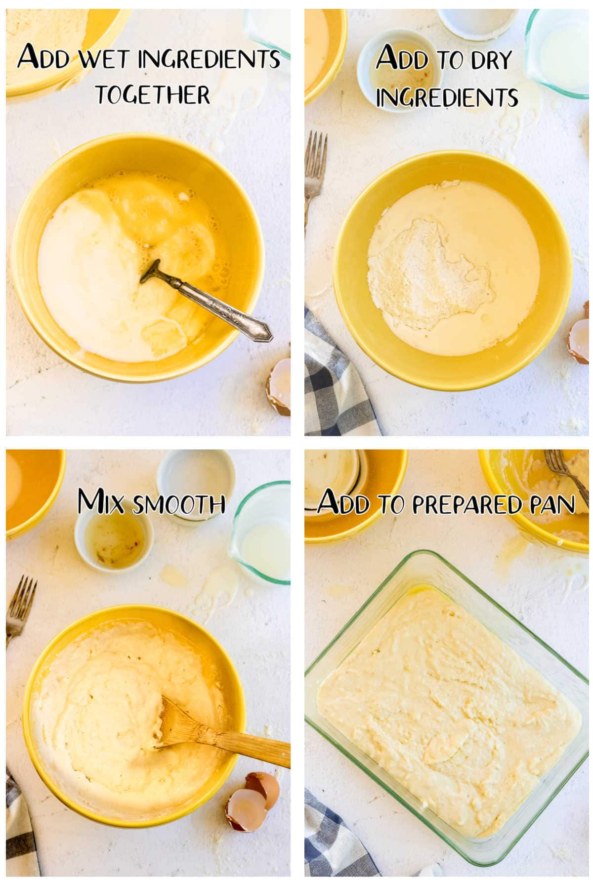 Step by step images for making cornbread.